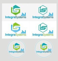 Logo industrial set vector