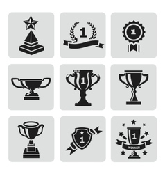 Set of black trophy and awards icons vector