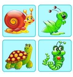 Set of icons with a grasshopper caterpillar vector