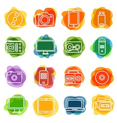 Different technology silhouette icons collection vector