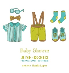 Baby boy shower and arrival card vector