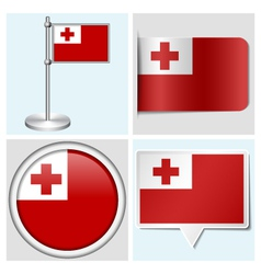 Tonga flag - sticker button label flagstaff vector