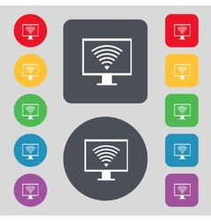 Wi fi sign icon video game symbol set colourful vector