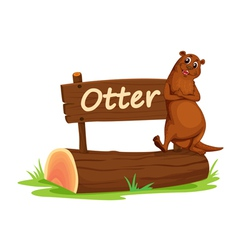 Cartoon zoo otter sign vector