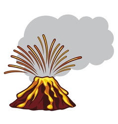 Volcano mountain top exploding vector