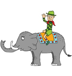 Travelling with elephant vector