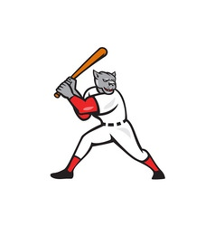 Black panther baseball player batting isolated vector