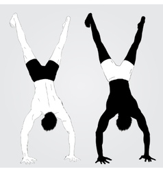 Young upside down standing athletes vector