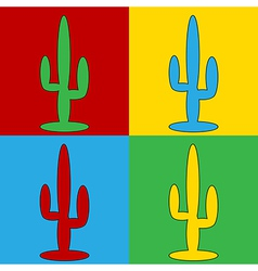 Pop art cactus icons vector