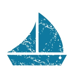 Grunge sailing ship icon vector