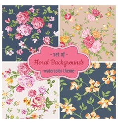 Set of seamless flower backgrounds vector