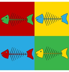 Pop art skeleton of fish icons vector