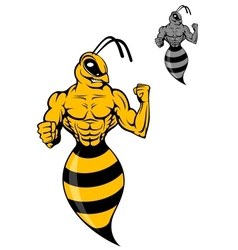 Powerful wasp or yellow hornet vector