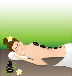 Beautiful woman lying a therapy with hot stones vector