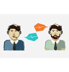 Male call center avatar icons with speech bubbles vector