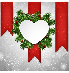 White heart paper christmas card vector