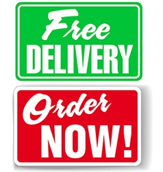 Free delivery order now website ad icons signs vector