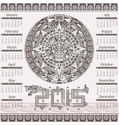 Calendar in aztec style vector