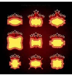Retro illuminated movie marquee set vector