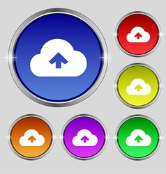 Upload from cloud icon sign round symbol on bright vector