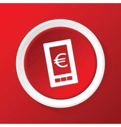 Euro screen icon on red vector