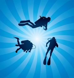 Scuba divers underwater vector