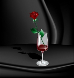 Rose in goblet with wine vector