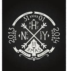 Happy new year retro chalkboard lettering vector