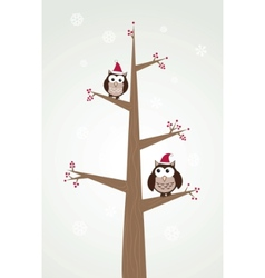 Owls couple in christmas hats on the tree branch vector