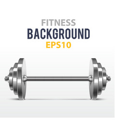 Fitness background with metal dumbbell vector