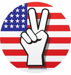 Peace sign on us flag vector
