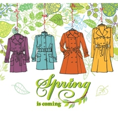 Spring fashion woman coats setleaves decor vector