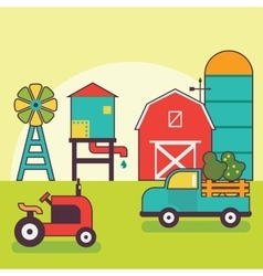 Farm warehouse car agriculture and industry vector