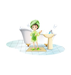 A young lady taking a bath with a green towel vector