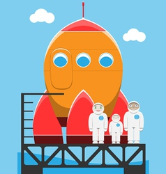 Rocket and astronaut family at spaceport vector