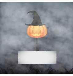 Halloween pumpkin in fog vector