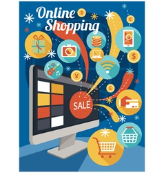 Computer monitor with sale and online shopping vector