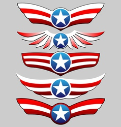 Stars and stripes ribbon set vector
