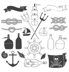 Nautical and sea elements vector