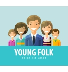 People young folk logo design template vector