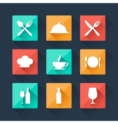 Collection flat icons food and drink for web vector