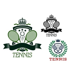 Tennis heraldic emblems on crowned shields vector