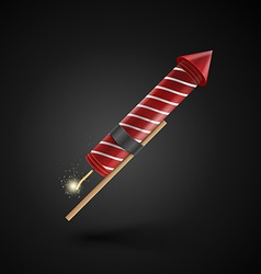Firework rocket isolated on black background vector