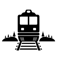 Rail road icon with moving train vector