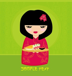 Sweet asian girl enjoy sushi vector