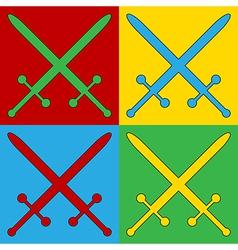 Pop art crossed swords icons vector