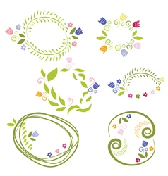 Romantic set labels with flowers vector