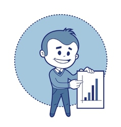 Character businessman with graph of earnings vector