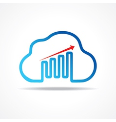 Business growth graph design with cloud design vector