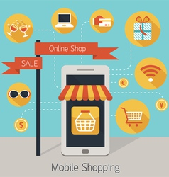 Mobile smartphone online shop with icons vector